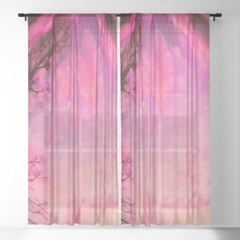 Red sky orb Sheer Curtain