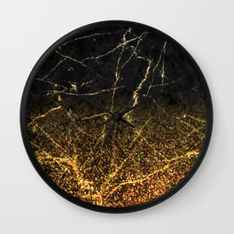 Fire Gold Glitter and Black Marble Wall Clock