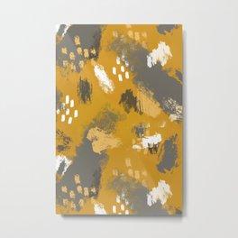 Painterly Brush Strokes in Mustard + Grey Metal Print