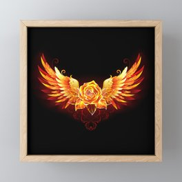Fire Rose with Wings Framed Mini Art Print