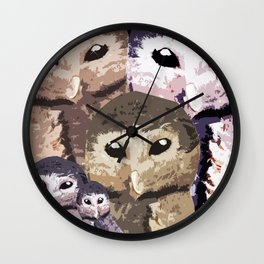 Baby Owl and his family  Wall Clock