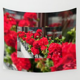 Bunches of vibrant red Pelargonium Wall Tapestry