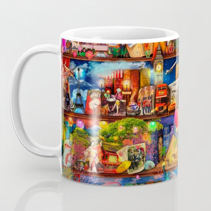 World Traveler Book Shelf Coffee Mug