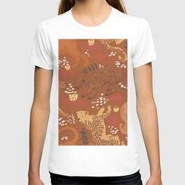 Jungle Cat Party in Rust T-shirt