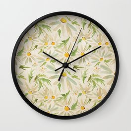 Watercolor Daisy Bouquet - Summer Happy Flowers Painting Wall Clock