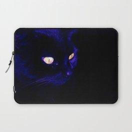 Black Cat Photograph, Halloween Eyes Laptop Sleeve