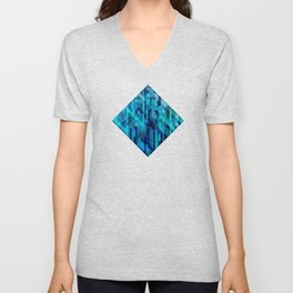 abstract composition in blues Unisex V-Neck