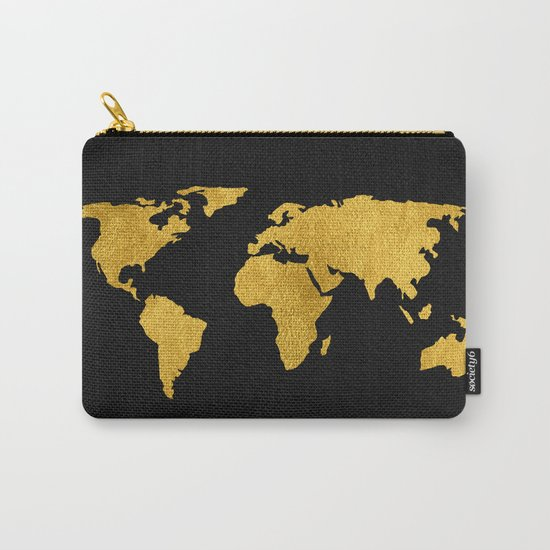 Metallic Gold Foil World Map On Black Carry-All Pouch