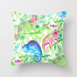 Camouflaging Chameleons Throw Pillow