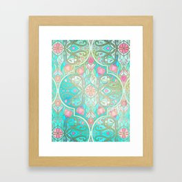 Floral Moroccan in Spring Pastels - Aqua, Pink, Mint & Peach Framed Art Print