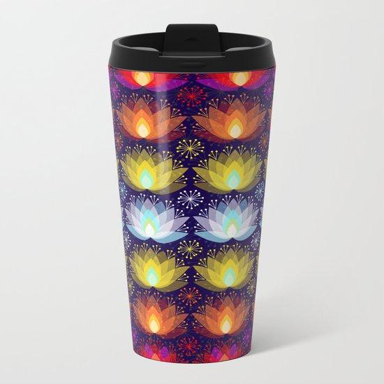 Variations on a Lotus I - Sparkle Brightly Metal Travel Mug