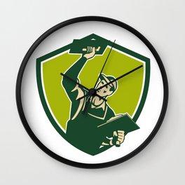Plasterer Mason Worker Trowel Shield Retro Wall Clock