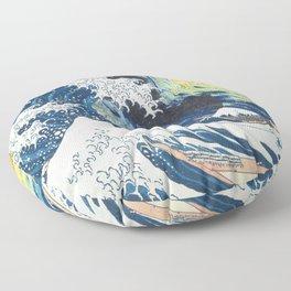 Starry Night Over The Great Wave Off Kanagawa Van Gogh/Hokusai Floor Pillow