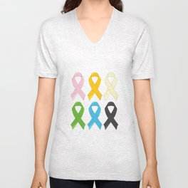 SIx Awareness Ribbons Unisex V-Neck