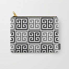 Gray Black And White Greek Key Pattern Carry-All Pouch