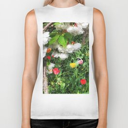 Cherry Blossoms and Tulpis Biker Tank