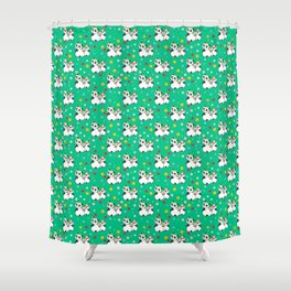 Panda family on meadow in wreaths Shower Curtain