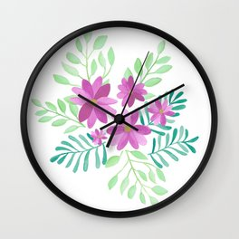 Watercolor Flowers for Emma Wall Clock
