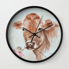 Cow with Rose by Debi Coules Wall Clock