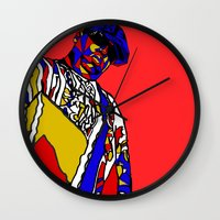 biggie Wall Clocks featuring BIGGIE by Fake Wealth
