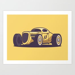 GAZ GL1 Custom Vintage Hot Rod Classic Street Racer Car - Yellow Art Print