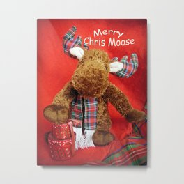 Merry Chris Moose Metal Print
