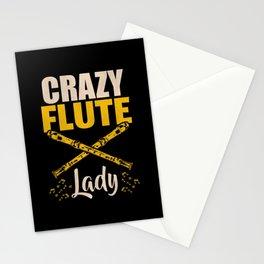 Crazy Flute Lady Stationery Cards