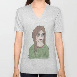 Girl with Glasses Unisex V-Neck