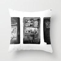 alchemy Throw Pillows featuring Alchemy by Mutt Ink