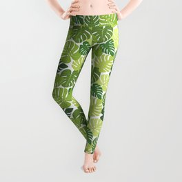 Monstera Leaves Pattern (white background) Leggings