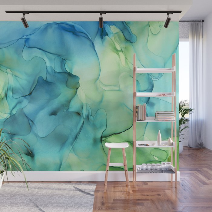 Blue Green Spring Marble Abstract Ink Painting Wall Mural
