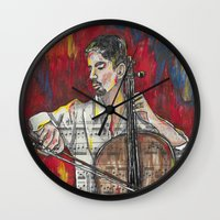 cello Wall Clocks featuring Cello 1 by Ed Rucker
