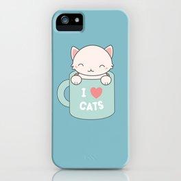 Kawaii Cute I Love Cats iPhone Case