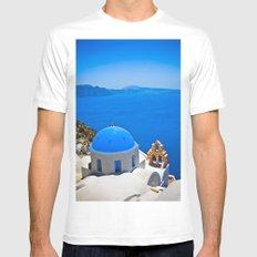 Santorini White Mens Fitted Tee MEDIUM