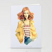 karen hallion Stationery Cards featuring Portrait of Karen Elson by Rive Gauche Craft