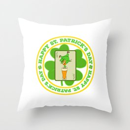 """Guys! Have This St. Patrick's Tee Saying """"Happy St. Patrick's Day"""" T-shirt DesignFour-Cleaf Clover Throw Pillow"""
