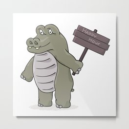 hippopotamus with happy hour sign Metal Print