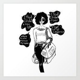 ink portrait of a girl about to travel Art Print