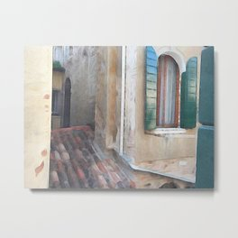 Venice Window Green Shudders Metal Print