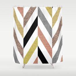 Rose Gold & Silver Herringbone Pattern Shower Curtain