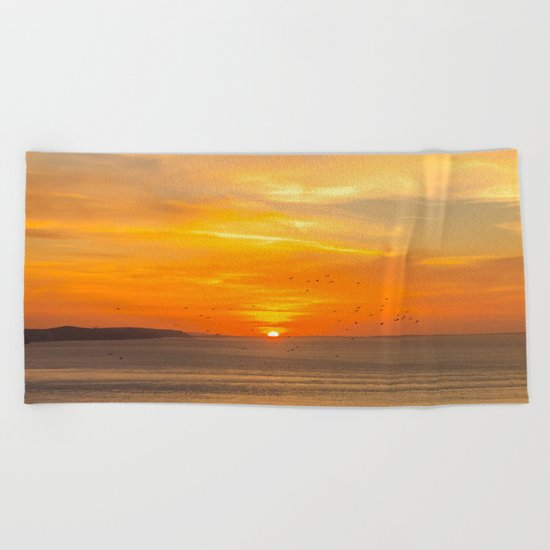 Sunset Coast with Orange Sun and Birds Beach Towel
