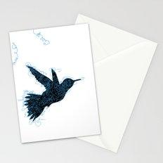 Bird Fly No. 1 (Black/Aqua) Stationery Cards