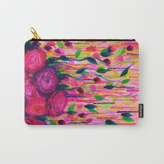 ROSES ARE RAD 2- Bold Pink Red Roses Floral Bouquet Vines, Flower Abstract Acrylic Painting Fine Art Carry-All Pouch