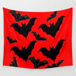 HALLOWEEN BATS ON BLOOD RED DESIGN Wall Tapestry