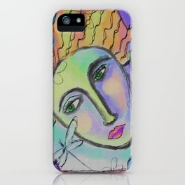 Woman and Dragonfly Abstract Digital Painting  iPhone Case