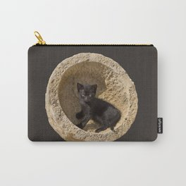 Black kitten in a stone bowl Carry-All Pouch