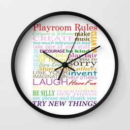 Playroom Rules - For Kids Playroom or Bedroom Wall Clock