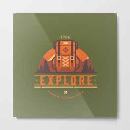 Explore - Backpack Metal Print