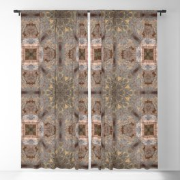 Copper Brown Terracotta Mandala and Tile Blackout Curtain