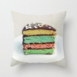 Rainbow cake Throw Pillow